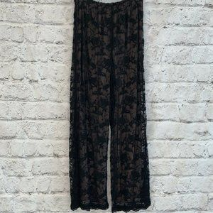 MIKE & TOD Black Lace Lined Palazzo Pull Up Pants